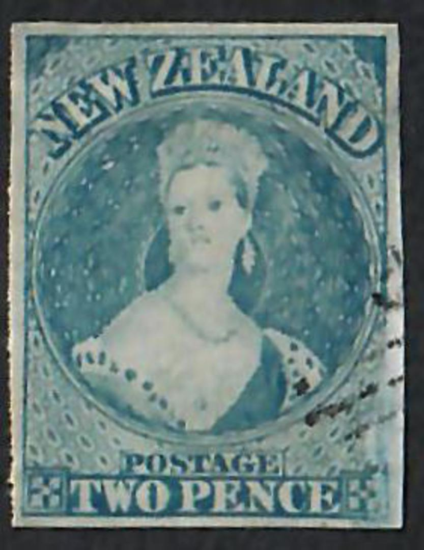 NEW ZEALAND 1855 Full Face Queen 2d Bright Blue Imperf. Fine postmark and good appearance. - 60020 - VFU image 0