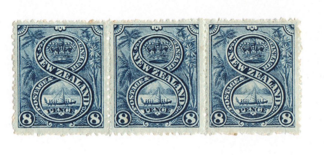 NEW ZEALAND 1898 Pictorial 8d Blue. London print. Strip of 3. Two UHM cv $425.00 each and one hinge remains cv $200.00. Price $3 image 0