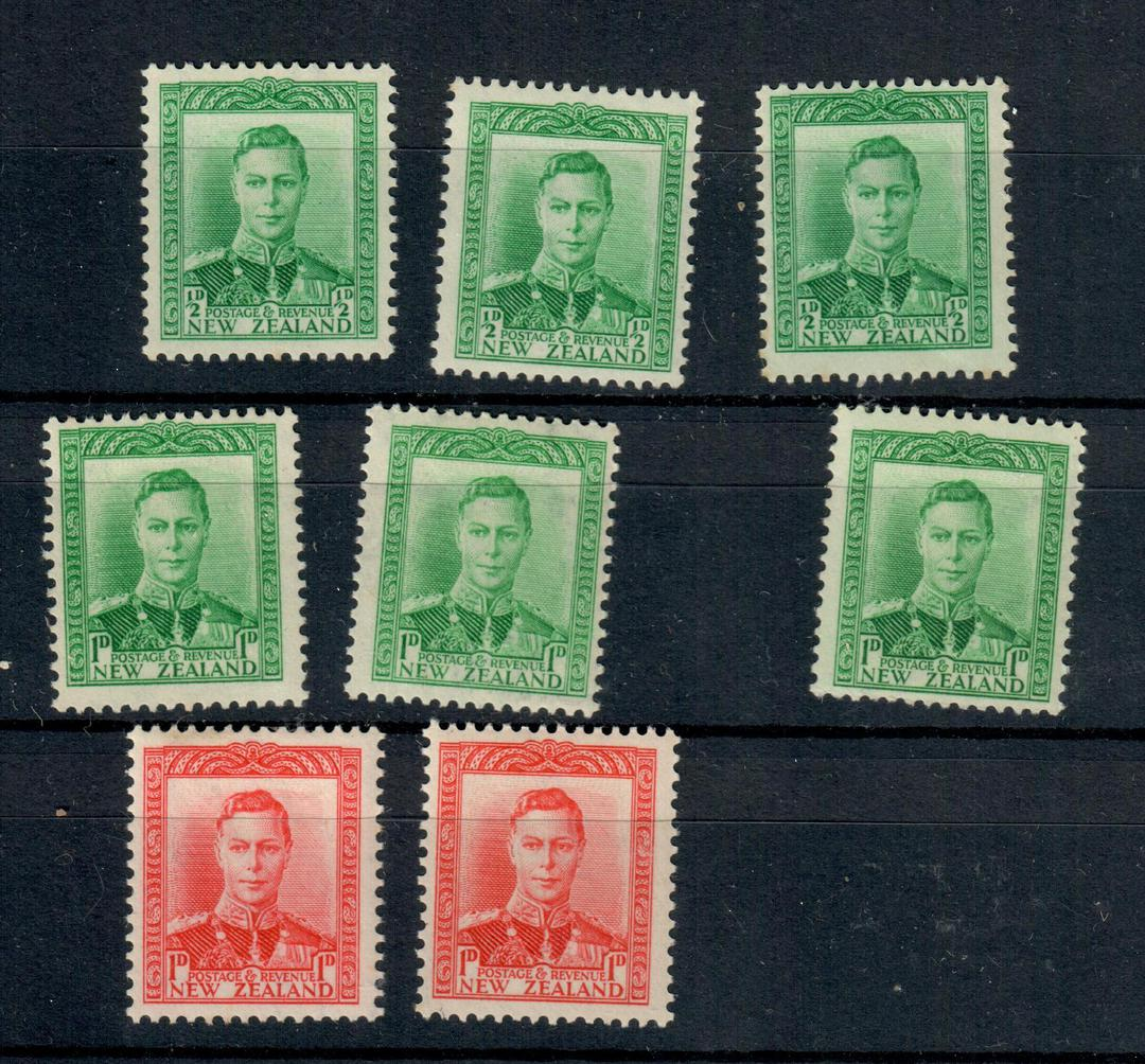 NEW ZEALAND 1938 Geo 6th Definitive ½d in three colours Green Yellow-Green and Blue-Green and the 1d Second Fine Paper in the sa image 0