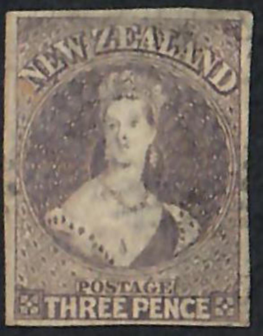 NEW ZEALAND 1855 Full Face Queen 3d Lilac Imperf. Four margins. Light postmark. SG 40. ACS 4. - 60040 - FU image 0