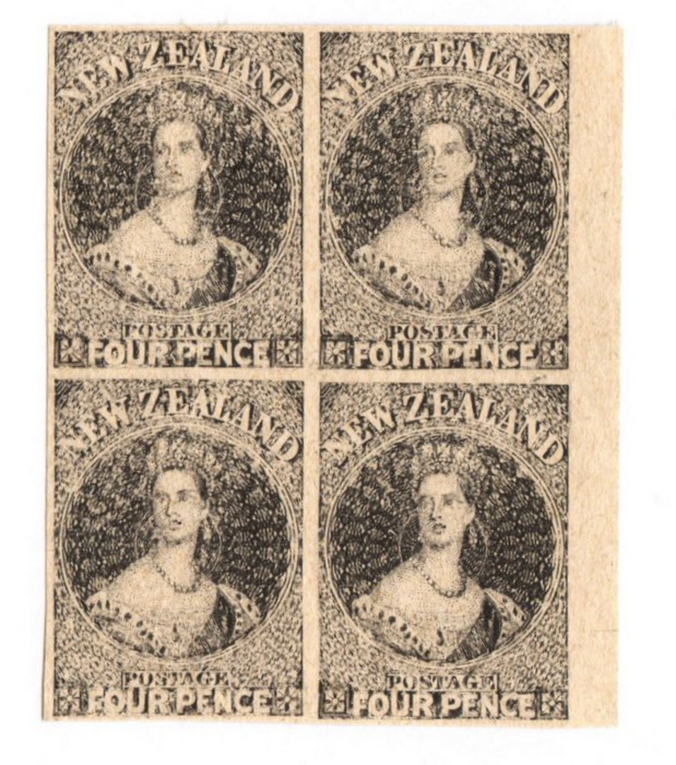 NEW ZEALAND 1855 Full Face Queen Hausberg Proofs in blocks of four. Eight blocks. - 37907 - image 3