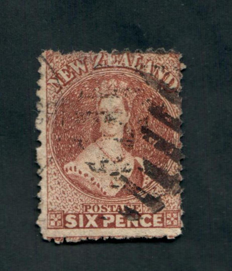 NEW ZEALAND 1862 Full Face Queen 6d Red-Brown. Heavy postmark detracts. - 39021 - Used image 0