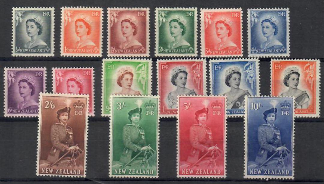 NEW ZEALAND 1953 Elizabeth 2nd Definitives. Set of 16. - 21891 - LHM image 0