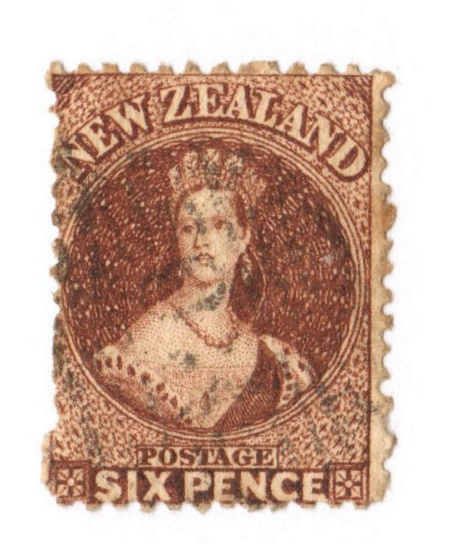 NEW ZEALAND 1862 Full Face Queen 6d Deep Red-Brown. Light postmark. - 3590 - Used image 0