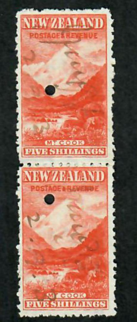 NEW ZEALAND 1898 Pictorial 5/- Red on Cowan paper. Watermark Sideways Inverted. Fiscally used pair. - 75248 - Fiscal image 0