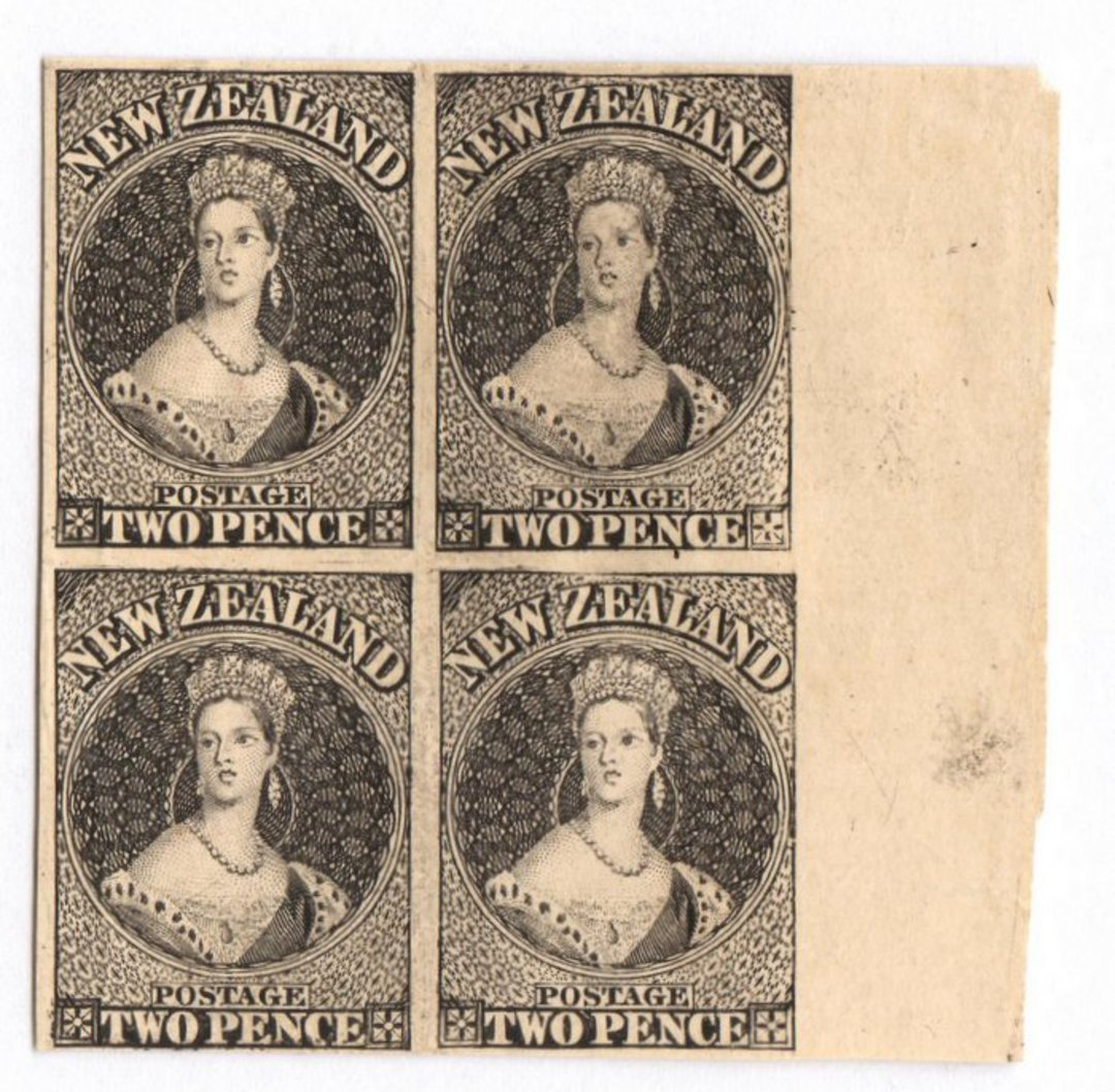NEW ZEALAND 1855 Full Face Queen Hausberg Proofs in blocks of four. Eight blocks. - 37907 - image 4