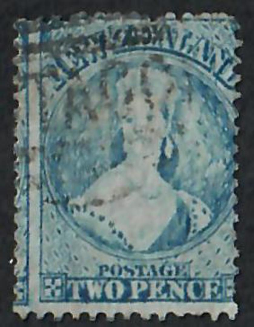NEW ZEALAND 1862 Full Face Queen 2d Blue Perf 12½. Advanced plate wear. Very light postmark. Well off centre but I think this en image 0