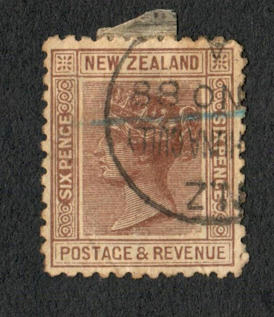 NEW ZEALAND 1882 Victoria 1st Second Sideface 6d Brown. - 10034 - FU image 0