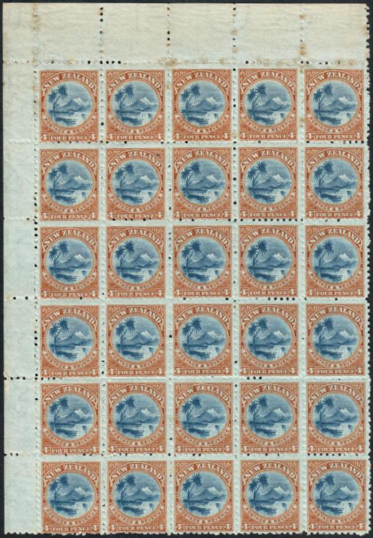 NEW ZEALAND 1898 Pictorial 4d Lake Taupo. Second local issue. Watermark 7. Perf 11. listed reentryBlock of 30. Includes R1/3 (li image 0