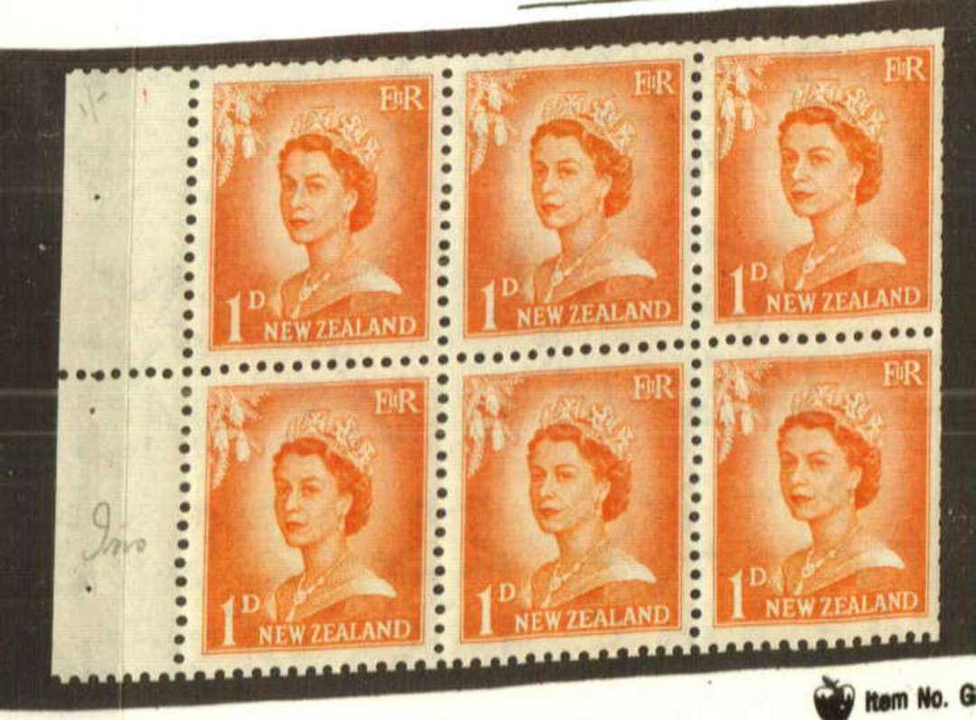 NEW ZEALAND 1954 Elizabeth 2nd 1d Orange Booklet Pane with inverted watermark. - 74743 - LHM image 0