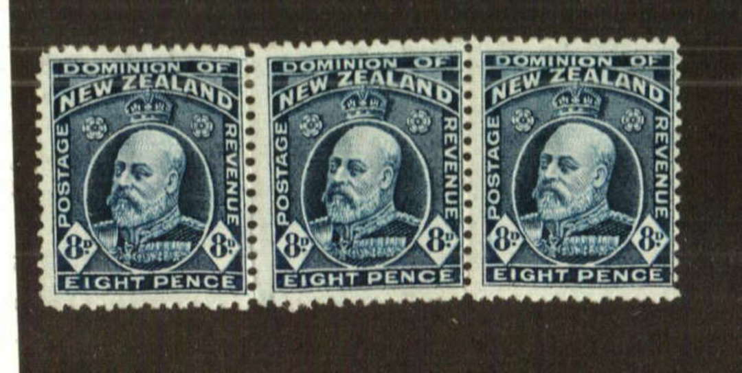 NEW ZEALAND 1916 Edward 7th Definitive 8d Indigo-Blue. Provisional issue on pictorial paper. Perf 14 line.  Watermark 7a. Nice s image 0