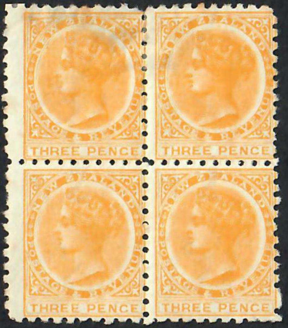 NEW ZEALAND 1882 Victoria 1st Second Sideface 3d Yellow. Perf 10. Block of 4. Top pair hinged. Looks very good from the front. - image 0