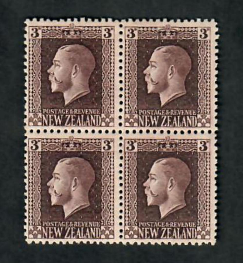 NEW ZEALAND 1915 Geo 5th Definitive 3d Brown. Recess print. Two perf pair  in block. One pair UHM One pair LHM. - 20103 - LHM image 0