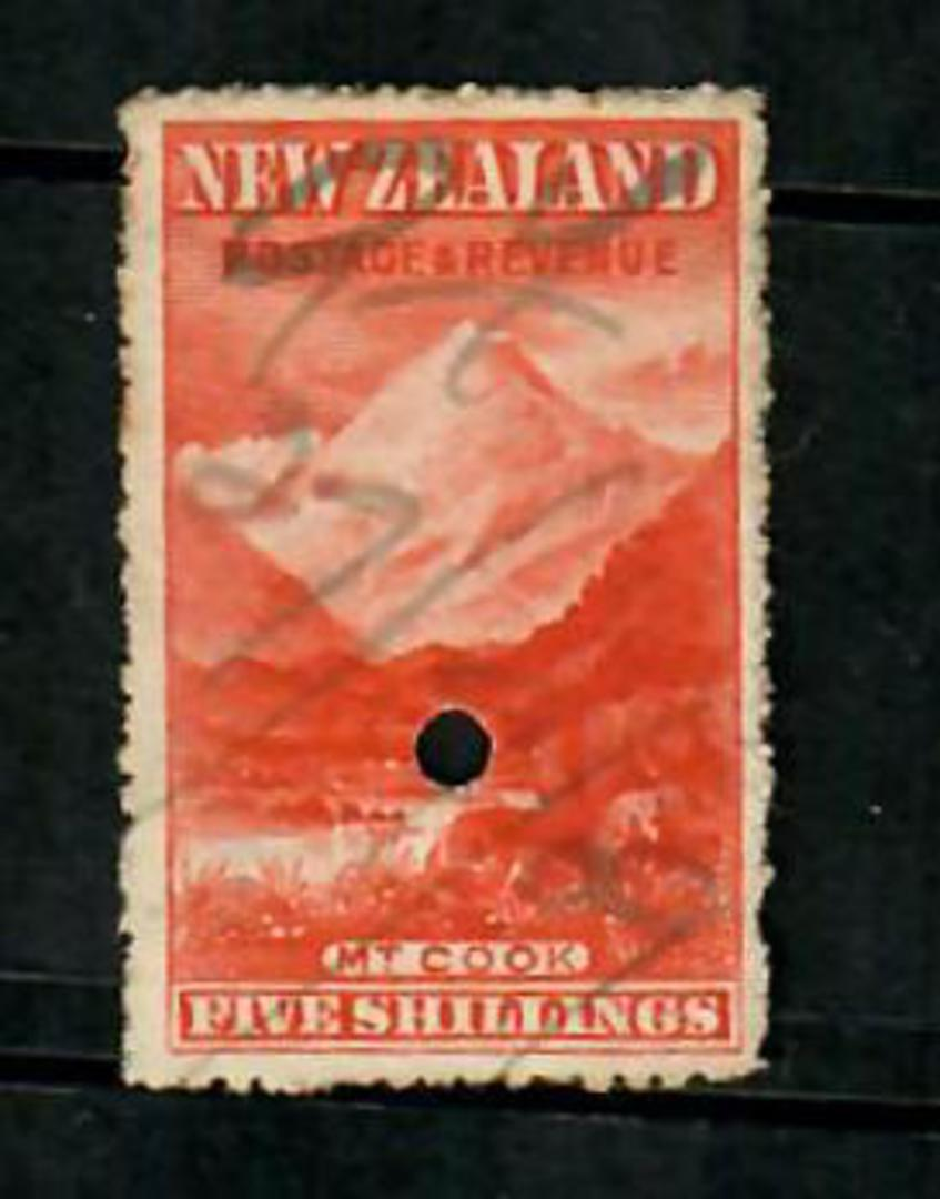 NEW ZEALAND 1898 Pictorial 5/- Mt Cook Vermilion. Fiscally used. - 75209 - Fiscal image 0