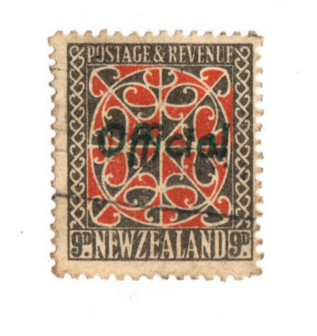 NEW ZEALAND 1935 Pictorial Official 9d Red and Grey with Green Overprint. - 74052 - Used image 0