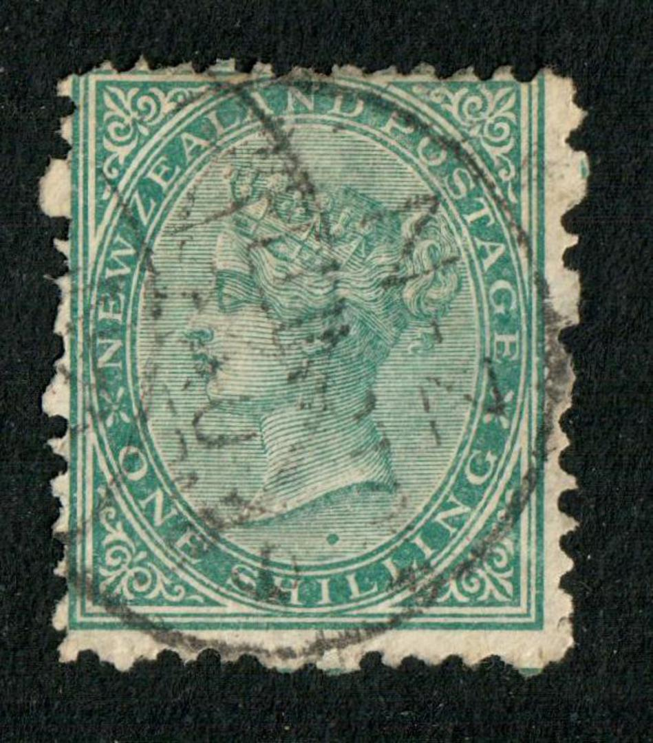 NEW ZEALAND 1874 Victoria 1st First Sideface 1/- Green. - 10024 - FU image 0