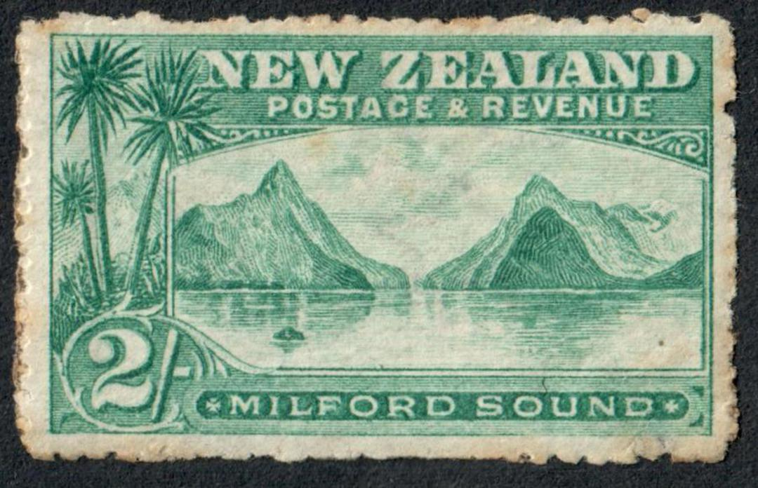 NEW ZEALAND 1898 Pictorial 2/- Milford Sound. Good copy with full gum and light hinge mark. Slight toning around the perfs. - 75 image 0