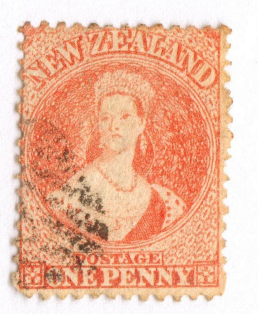 NEW ZEALAND 1862 Full Face Queen 1d Orange. Light cancel off face. Excellent copy. image 0