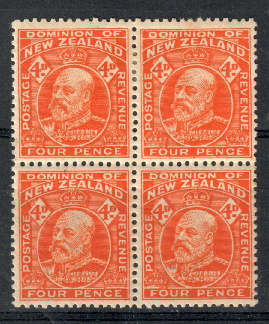 NEW ZEALAND 1909 Edward 7th Definitive 4d Orange-Red. Block of 4. Light hinged at the top. - 20669 - Mixed image 0