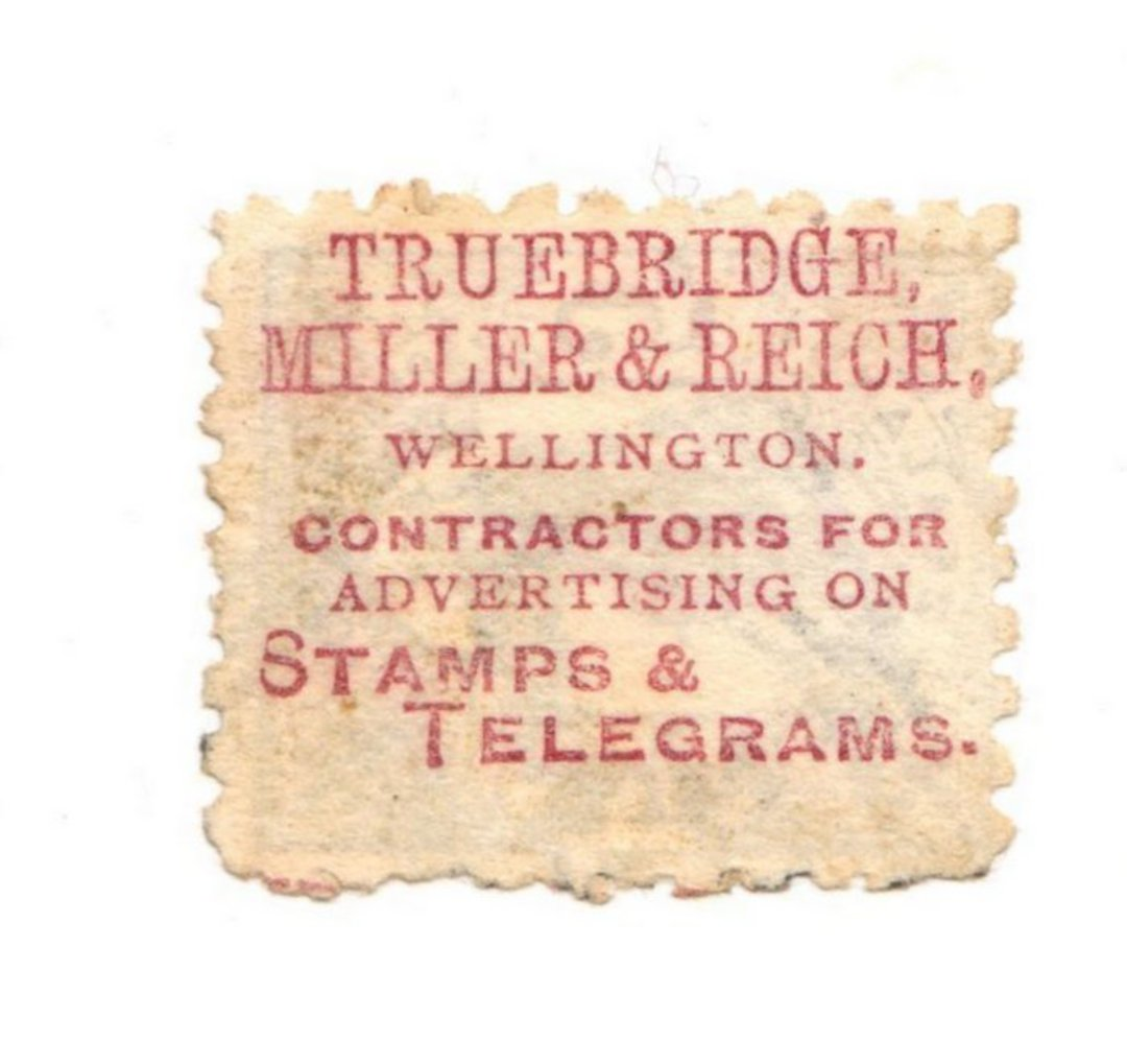 NEW ZEALAND 1893 5d with advert on reverse.  Perf 10, 3rd setting in mauve.  TRUBRIDGE MILLER & REICH - 79414 - Used image 0