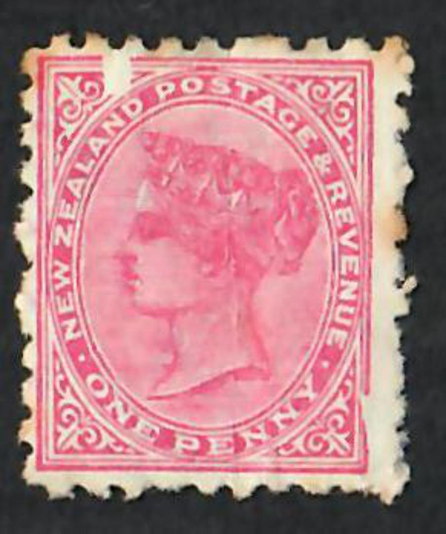 NEW ZEALAND 1890 Victoria 1st Second Sideface 1d Rose Perf 10 with Chisel Flaw. - 74658 - Used image 0