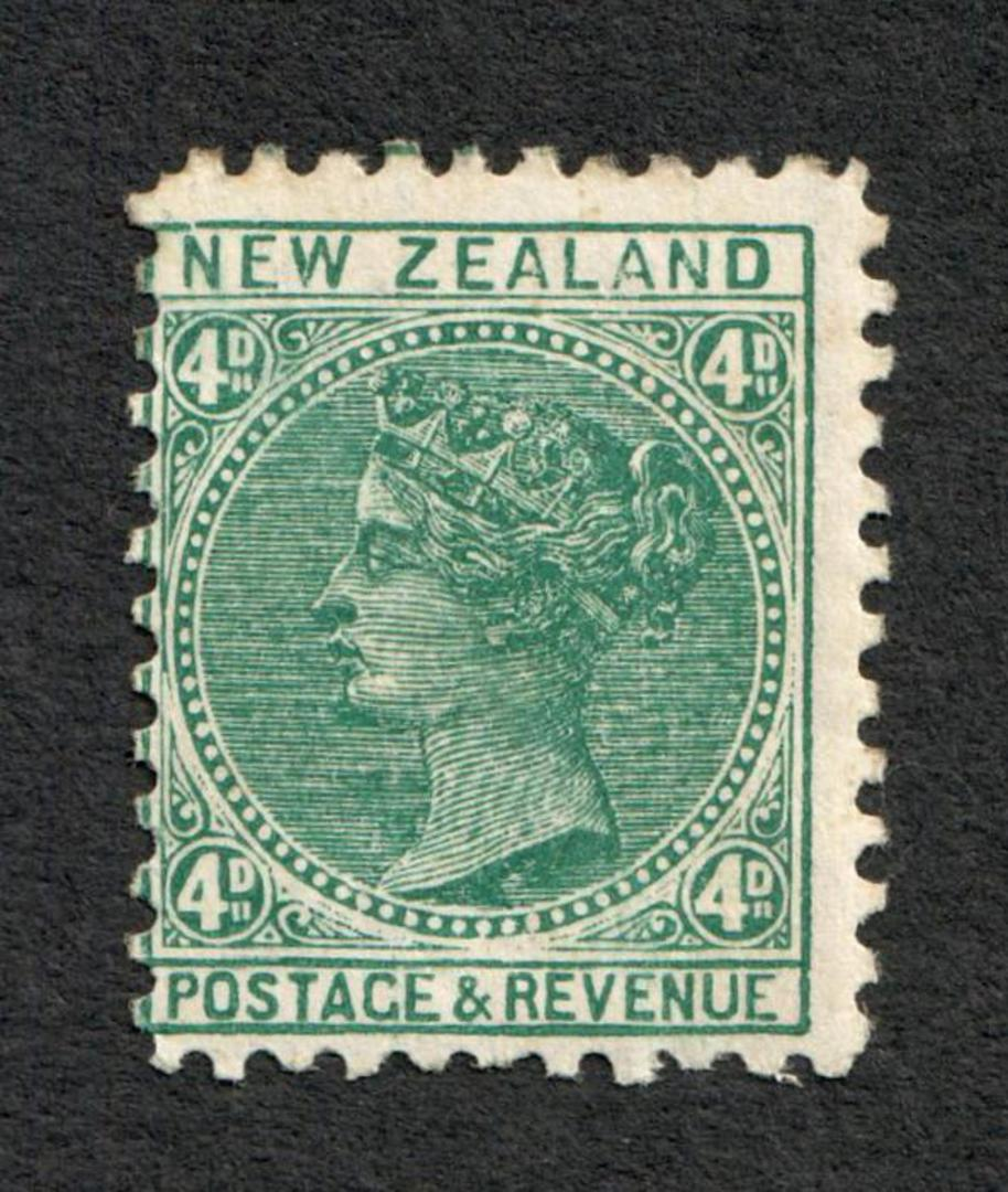 NEW ZEALAND 1882 Victoria 1st Definitive 4d Green. - 32 - UHM image 0