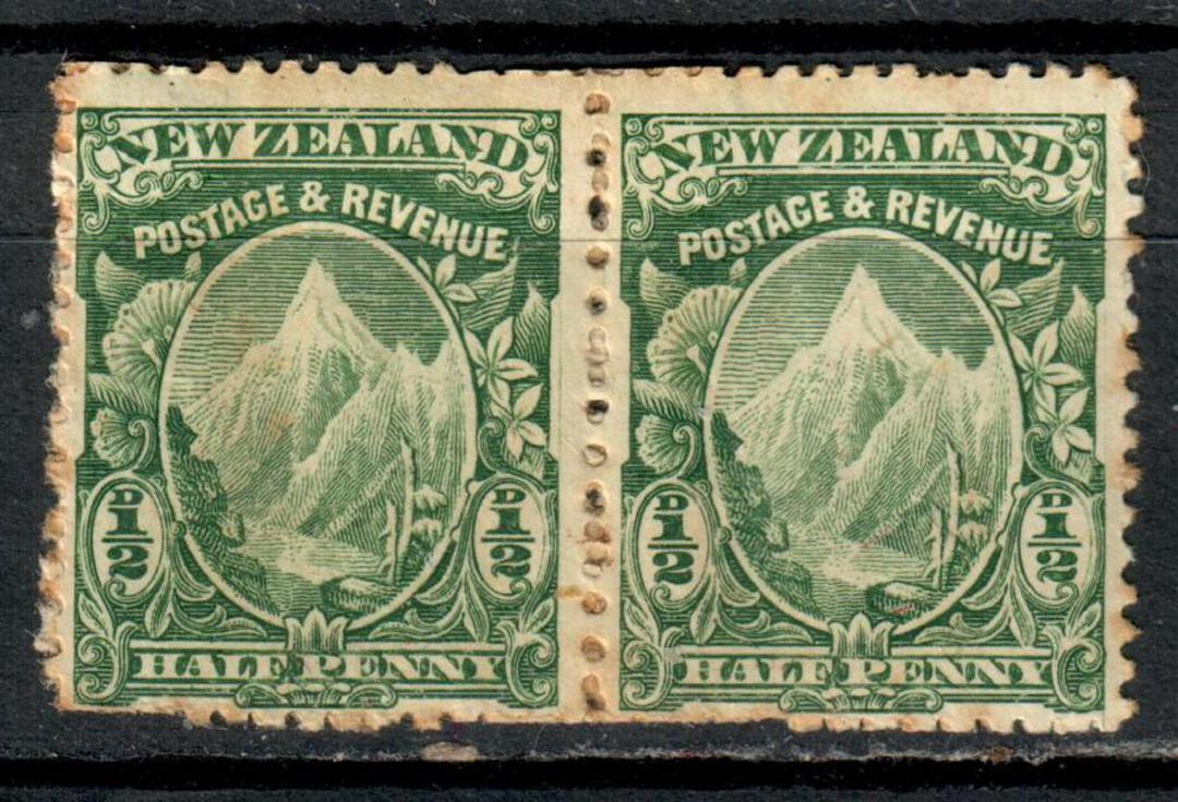 NEW ZEALAND 1898 Pictorial ½d Mt Cook Green. Mixed Perfs. Pair. Light toning. Two lines of perf overlapping visible down the cen image 0