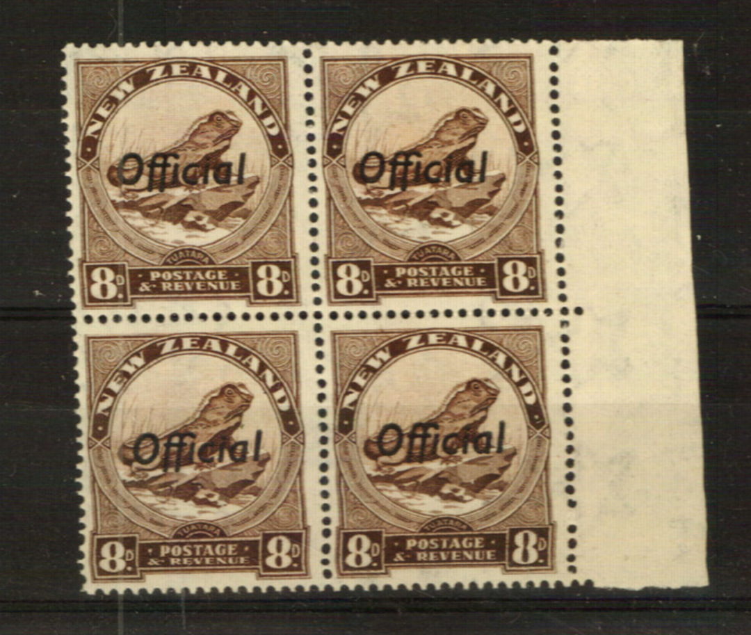 NEW ZEALAND 1935 Pictorial Official 8d Brown. Block of 4. - 24012 - UHM image 0