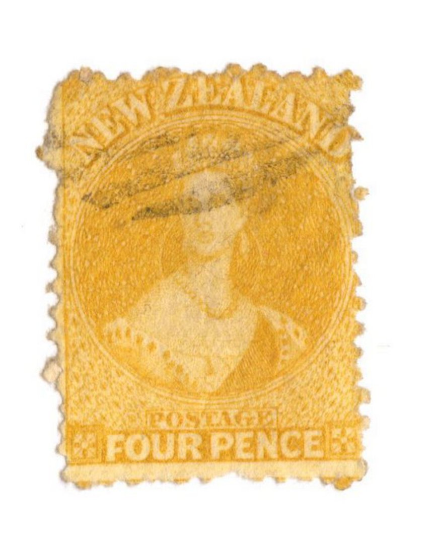 NEW ZEALAND 1862 Full Face Queen 4d Yellow. Perf 12½. Light cancel partly covers face. - 79748 - FU image 0