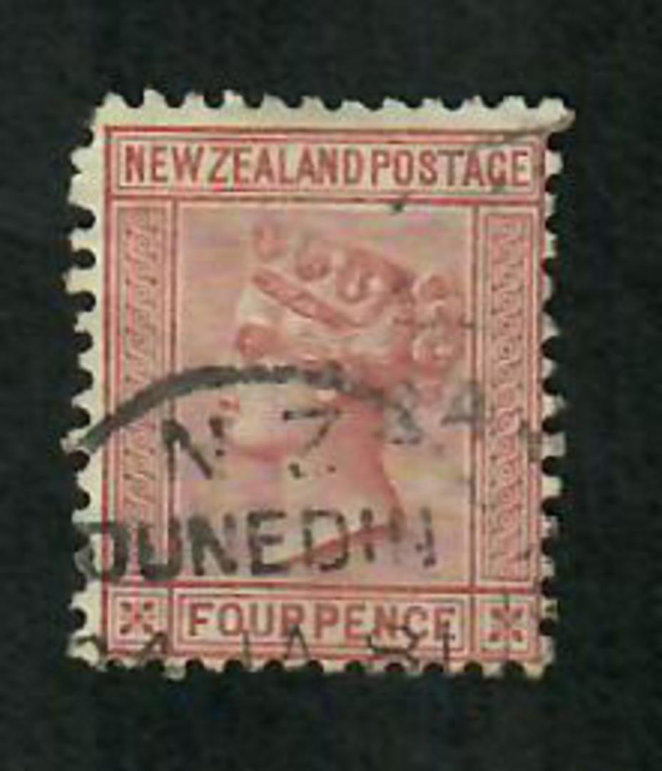NEW ZEALAND 1874 Victoria 1st First Sideface 4d Maroon. - 10022 - Used image 0