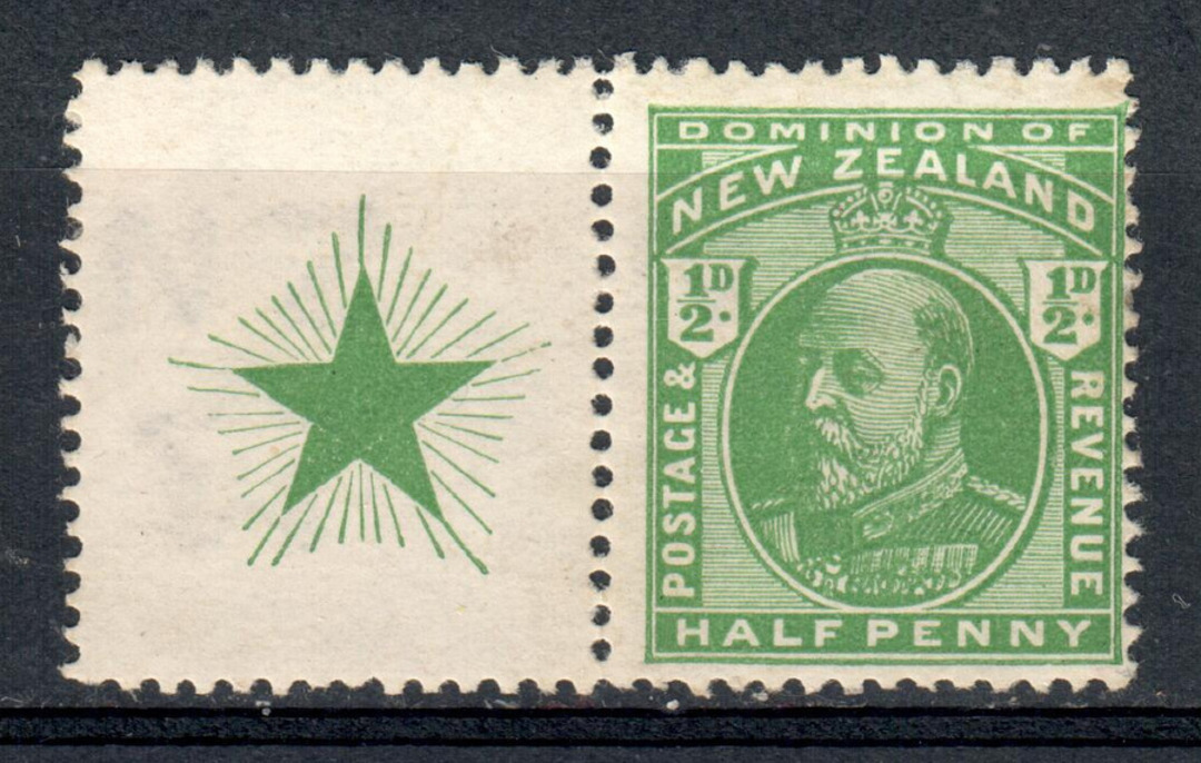 NEW ZEALAND 1909 Edward 7th Definitive ½d Green. Booklet stamp with star on side selvedge. - 79619 - UHM image 0