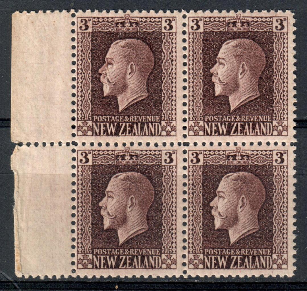 NEW ZEALAND 1915 Geo 5th Definitive 3d Chocolate Recess. Block of 4. - 75071 - UHM image 0