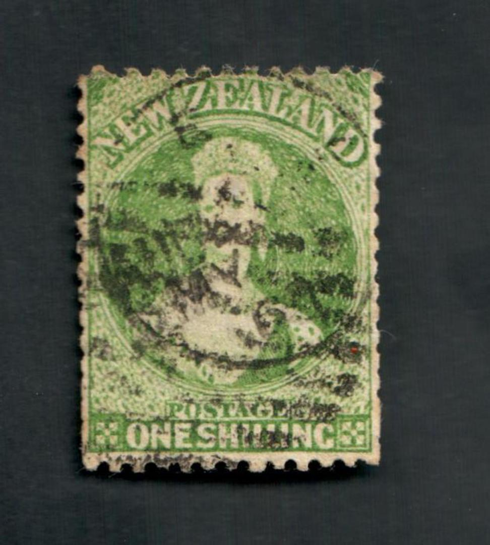 NEW ZEALAND 1862 Full Face Queen 1/- Green. Postmark not too heavy but over the face. Some slightly trimmed perfs. - 39238 - Use image 0
