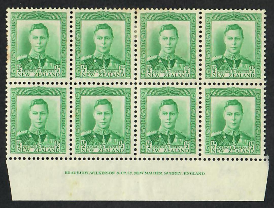 NEW ZEALAND 1938 Geo 6th Definitive ½d Green in imprint block of 8. - 21864 - LHM image 0