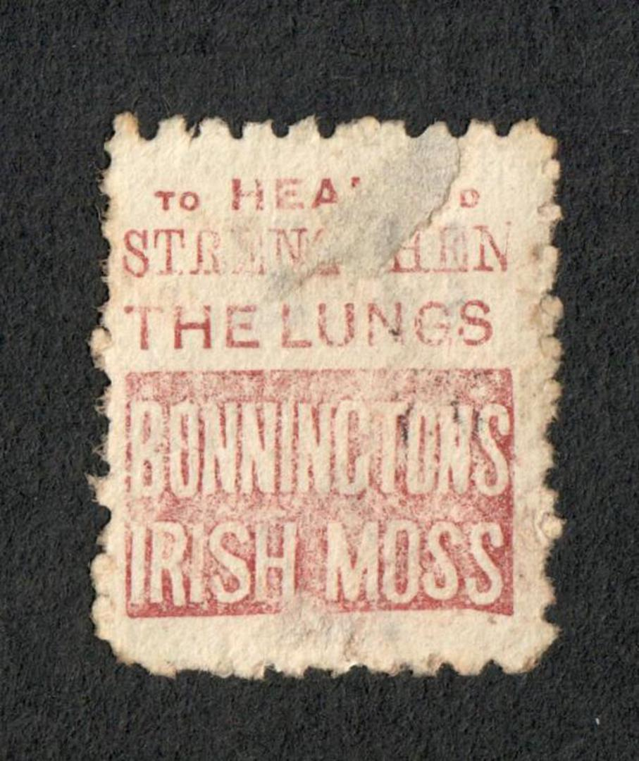 NEW ZEALAND 1882 Victoria 1st Second Sideface 2d Mauve. Perf 10. Secnd setting. Heal & Strenghten the Lings Bonnington's Irish M image 1