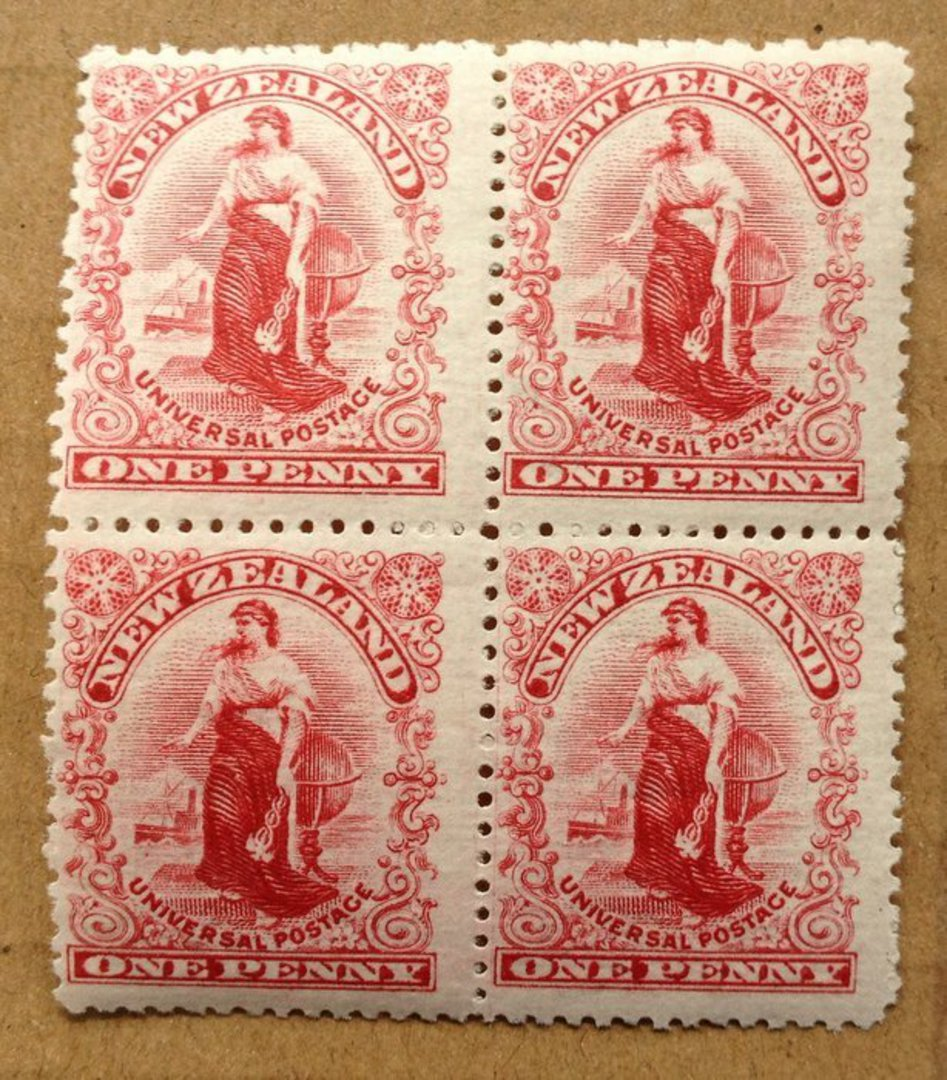 NEW ZEALAND 1908 1d Universal. Block of 4 from the Reserve Plate. - 75238 - UHM image 0