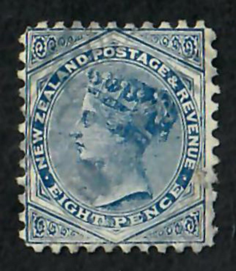 NEW ZEALAND 1882 Victoria 1st Second Sideface 8d Blue. Watermark 4. Perf 11. - 71298 - VFU image 0