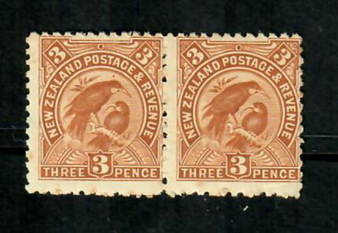 NEW ZEALAND 1898 Pictorial 3d Brown. Perf 11. No Watermark. Fine never hinged pair. - 75199 - UHM image 0