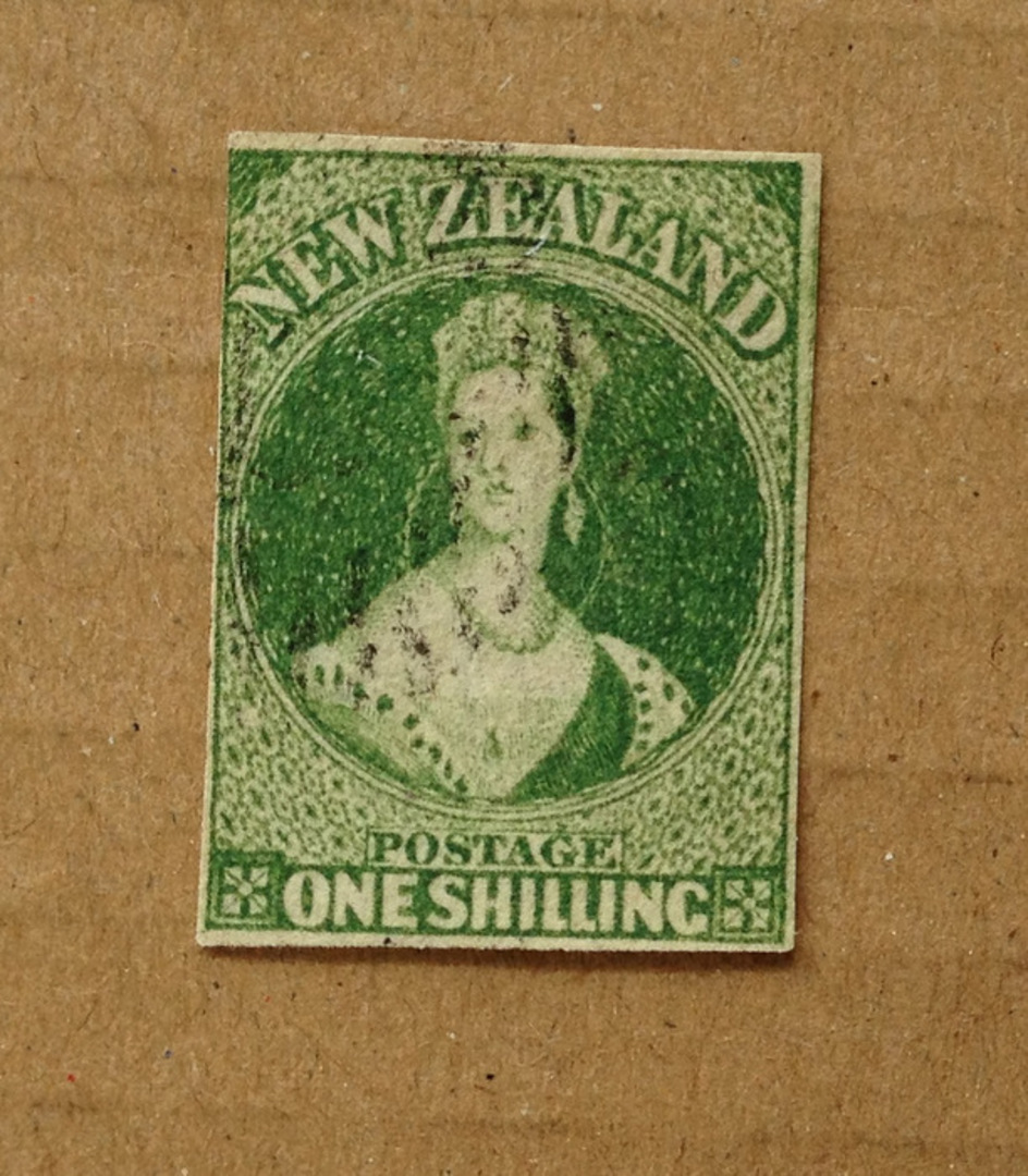 NEW ZEALAND 1855 Full Face Queen 1/- Deep Green. Watermark Large Star. Three margins, judt touching top right. Good cancel off f image 0
