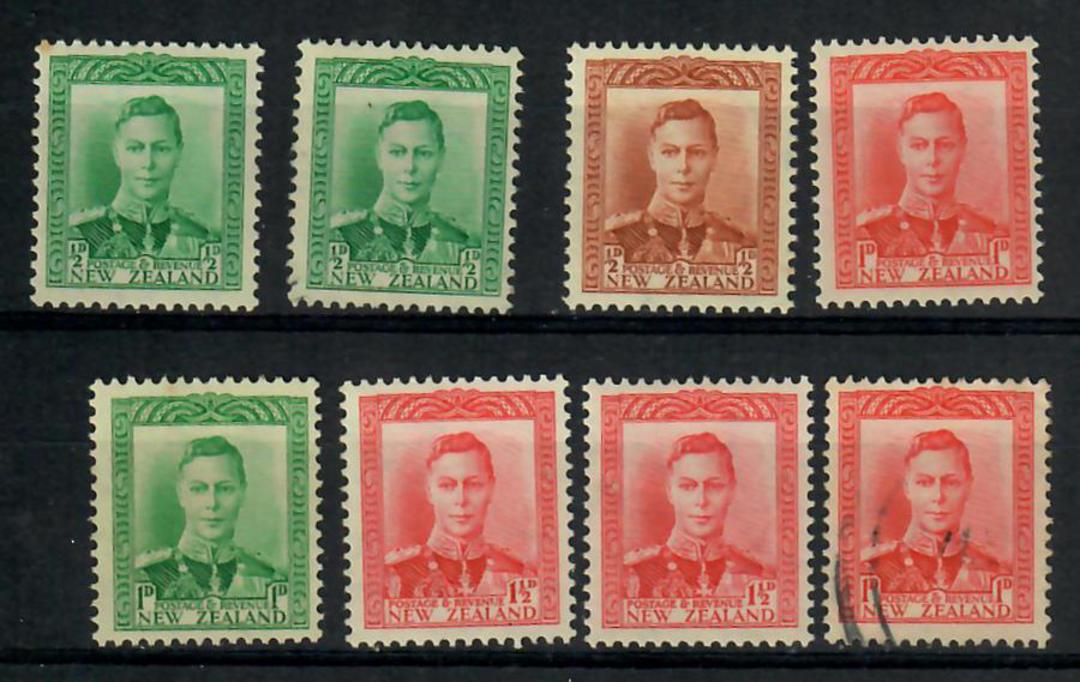 NEW ZEALAND 1938 Geo 6th Definitives. Card of 8 values identified by the vendor. - 21840 - Mint image 0