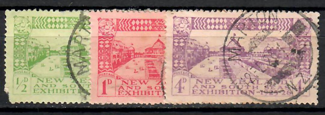 NEW ZEALAND 1925 Dunedin Exhibition. Set of 3. Postmark MARTON. - 70845 - Used image 0
