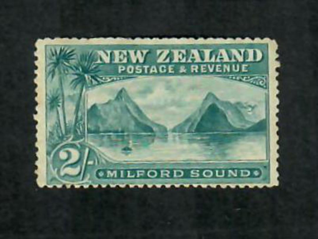 NEW ZEALAND 1898 Pictorial 2/- Blue-Green. London Print. Light hinge remains. - 75011 - Mint image 0