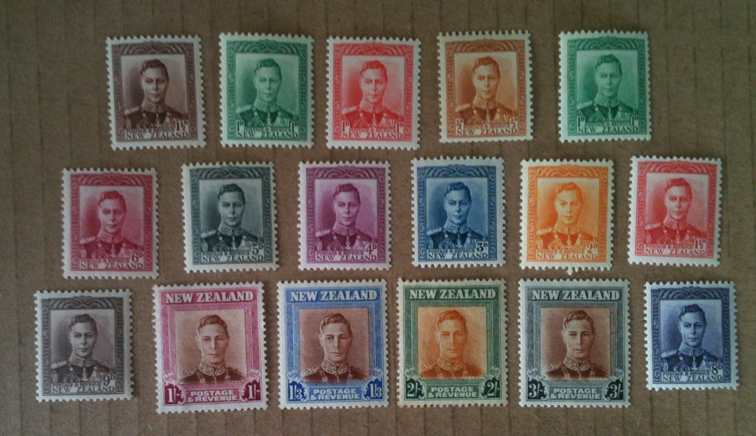 NEW ZEALAND 1938 Geo 6th Definitives. Set of 17. - 25002 - UHM image 0