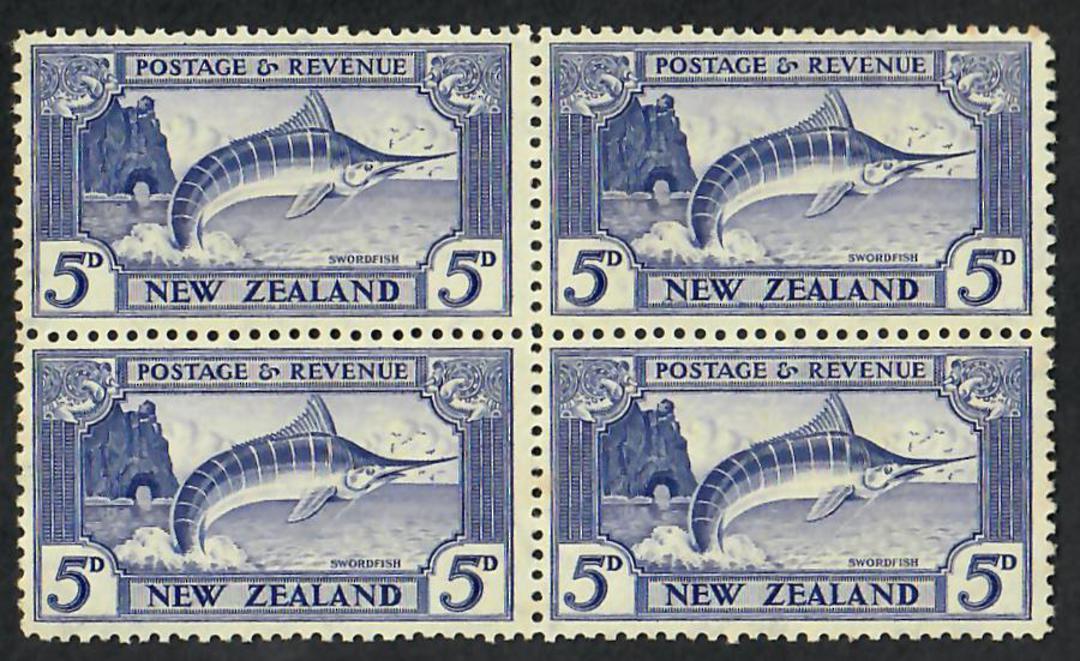 NEW ZEALAND 1935 Pictorial 5d Pale Ultramarine. Perf 12.5. Block of 4. - 21810 - UHM image 0