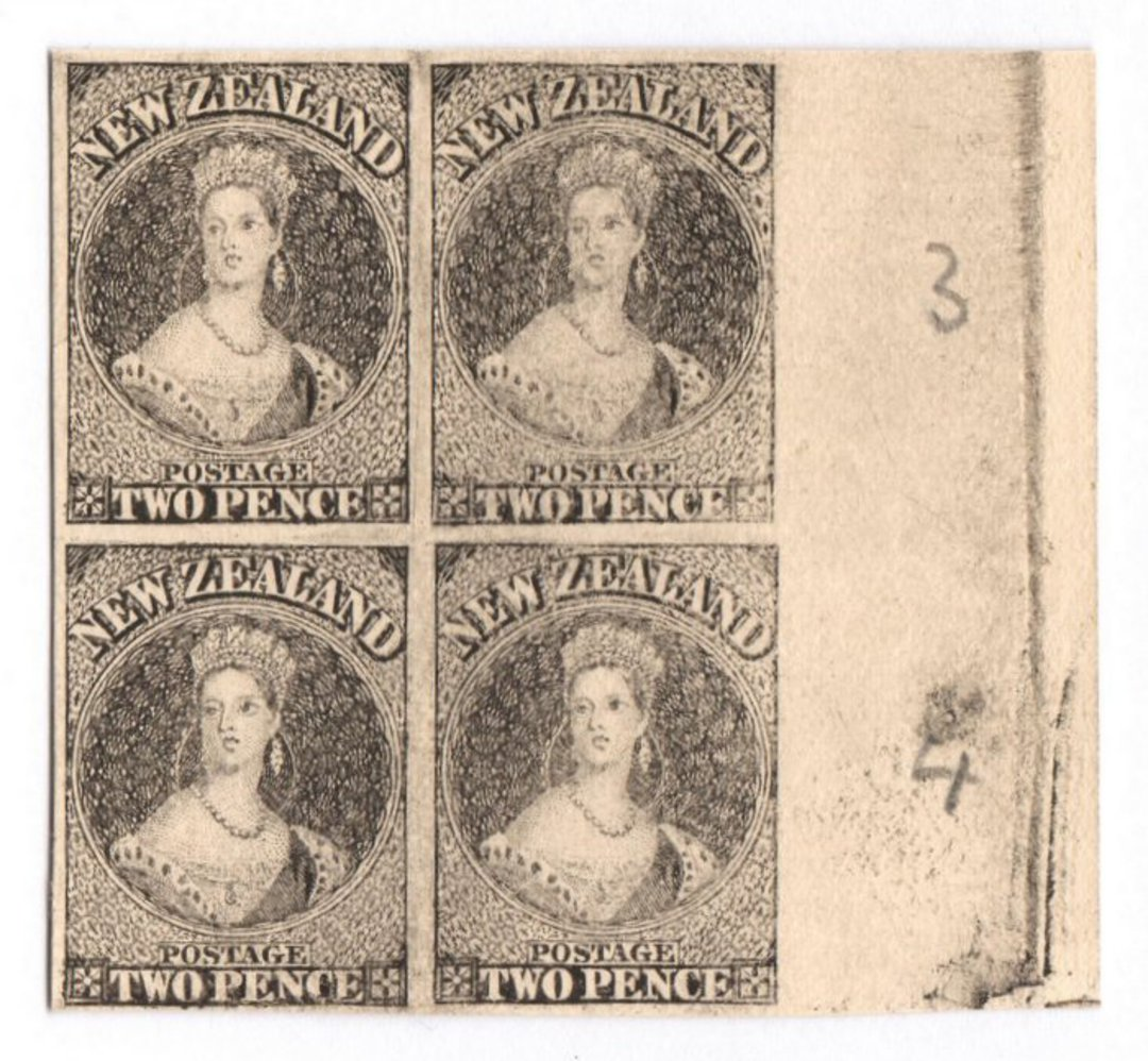 NEW ZEALAND 1855 Full Face Queen Hausberg Proofs in blocks of four. Eight blocks. - 37907 - image 1