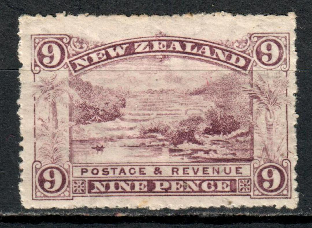NEW ZEALAND 1898 Pictorial 9d Purple. The Pink Terrace. Gum faults due to age but no toning or rust. Rough perfs. Letters waterm image 0