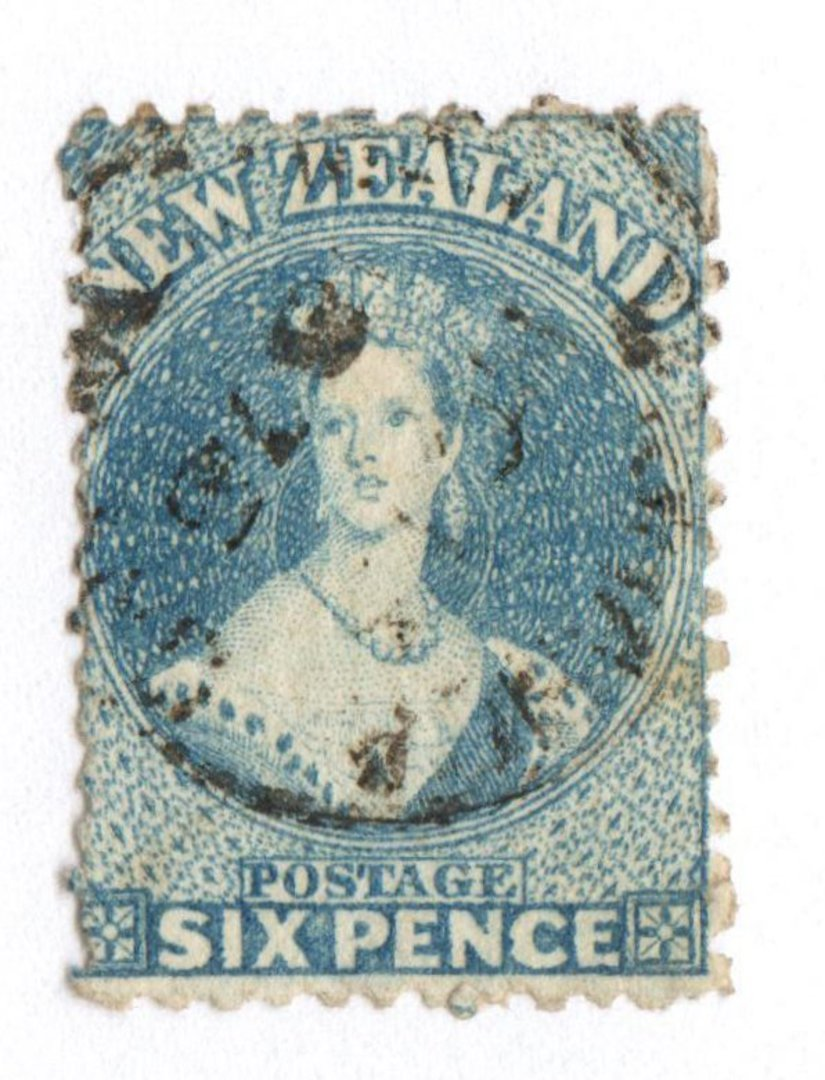 NEW ZEALAND 1862 Full Face Queen 6d Blue. Perf 12½. Watermark Large Star. Light postmark off face. - 74650 - Used image 0