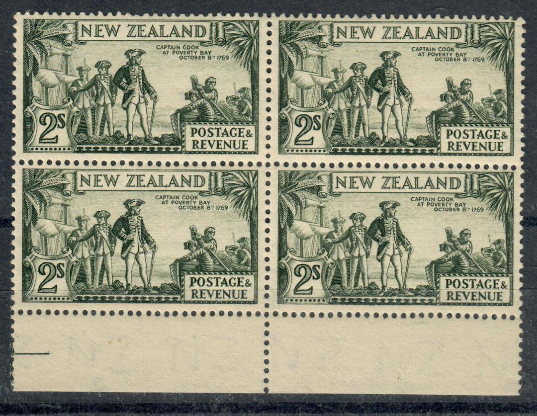 NEW ZEALAND 1935 Pictorial 2/- Olive-Green. Perf 13-14 x 13½. Multiple watermark. Block of 4. - 20665 - UHM image 0