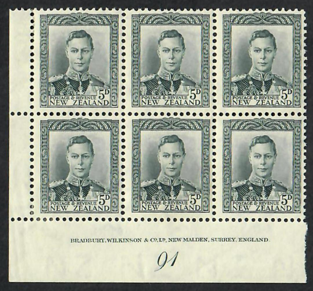 NEW ZEALAND 1938 Geo 6th Definitive 5d Grey. Block of 6. Plate 91 in the fine paper. - 21868 - Mint image 0