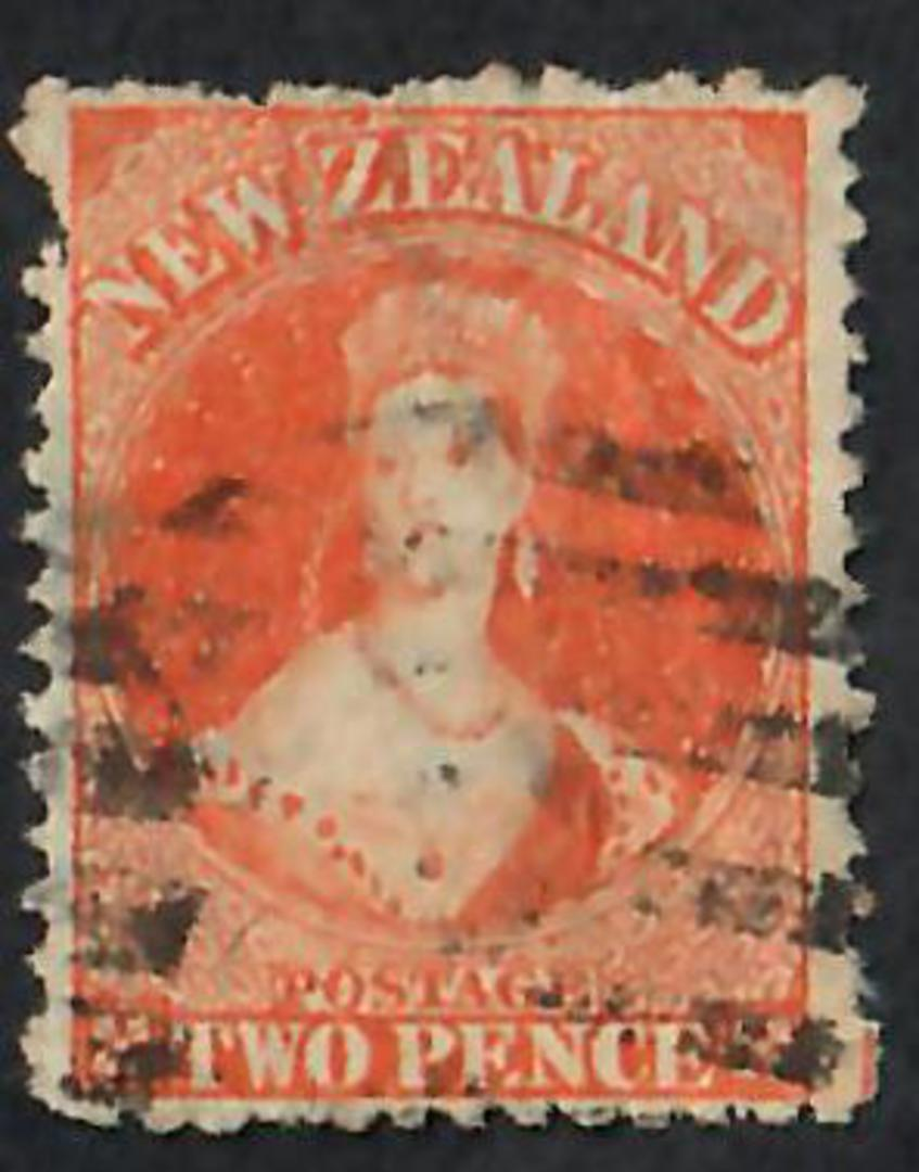 NEW ZEALAND 1862 Full Face Queen 2d Orange. Perf 12½. Postmark mainly frames the queen. - 60033 - Used image 0